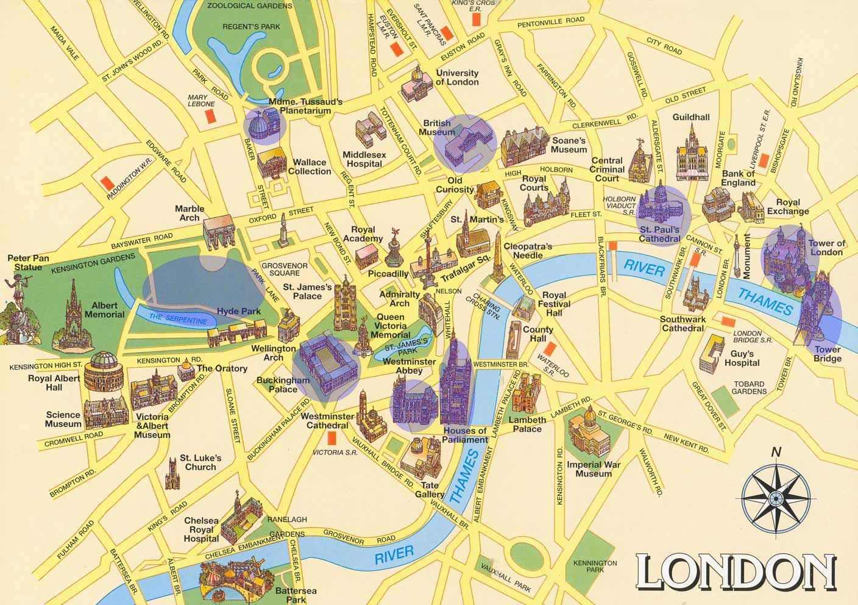 карта лондона с достопримечательностями